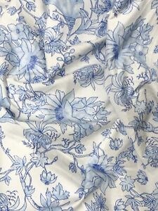 """0.5 Meter Ivory Blue Floral Soft Brushed Cotton Fabric 43"""" Wide"""