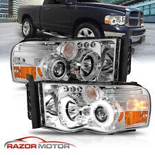 02-05 Dodge Ram 1500 2500 3500 Led Halo Projector Chrome Headlights Corner Lamp (Fits: Dodge Ram 2500)