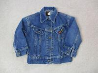 VINTAGE Lee Jean Jacket Girls Small Blue Denim Rancher Coat Youth Kids 90s A4
