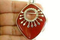 Red Fossil Coral Ornate 925 Sterling Silver Pendant
