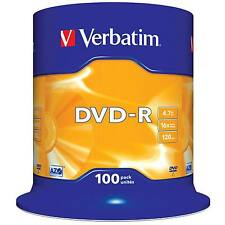 VERBATIM DVD-R RECORDABLE MEDIA 100 PACK SPINDLE CAKE /  16X SPEED / 4.7GB DATA