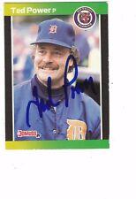 1989 Donruss Ted Power Detroit Tigers Authentic Autograph COA