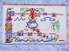 1860 HAND PAINTED ILLUMINATED FRONTISPIECE LEAF w/ GENEALOGY from FAMILY BIBLE