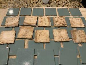 """Lot of 51 Vintage Tiles 4x4"""" Turquoise Aqua Green Made USA Glossy Bathroom tiles"""