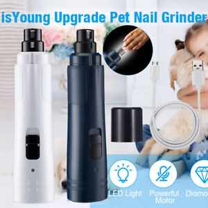 LED Light up Dog Nail Grinder Electric Pet Nail File 2 Speeds Rechargeable US