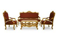 French Style, Solid Wood ,Gold Leaf ,Red-wine Silk Upholstered , Living Room Set