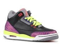 premium selection f44e7 880ef Nike Girls Air Jordan 3 Retro GS 441140-039 2013 Joker Black Atomic Red Volt