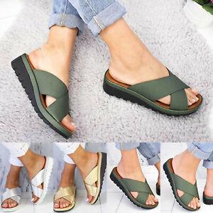 Summer Women's Casual Platform Wedge Sandals Slip On Slider Flat Slippers Shoes