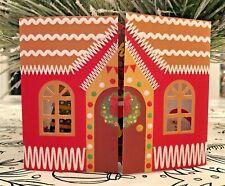 Vtg. Look Glitter Gibson Cutout Windows Gingerbread Santa's House Christmas Card