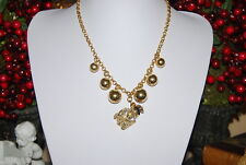 VINTAGE COUTURE GLASS BOTTLE WITH GOLD TONED METAL CHAIN & ROUND BEADS NECKLACE