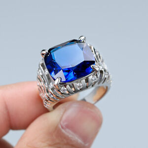 Gorgeous Jewellery 925 Silver Big Square Cubic Zirconia Stone Ring for Women Men