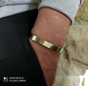Men's natural brass gold cuff bangle bracelet hammered work crafted Men Bracelet
