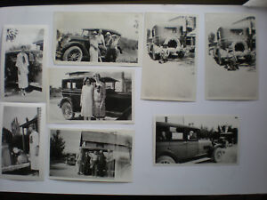 Antique photo lot 1920's Cars Automobile with People