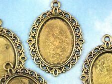 8 Cabochon Cameo Holder Bezel Blanks Antique Gold Tone Fancy Oval Pendants #P942