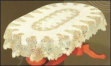 "Oval lace cream/dark gold Tablecloth NEW 51"" x 71"" (130x180cm) elegant gift"