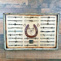 Antique Barbed Wire Display 24 cut's Authentic Barbwire Collection w/ Horse Shoe