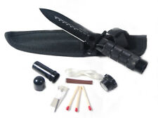 "8"" Stainless Steel Black Hunting Knife with Survival Kit & Pouch"
