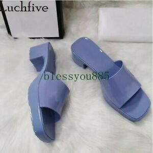 Women Candy Color PVC Slippers Square Open toe Mid-heel Summer Sandals Shoes