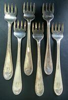 6 Fourchettes Huître/dessert Métal Argenté Sheffield Couvert Table TBE