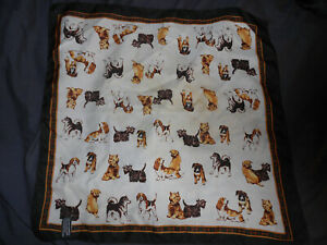 """Talbots Scarf 21"""" Sq  Hand Rolled Hems Dogs White Background"""