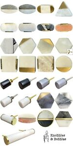 Stone marble knobs handles drawer pull cupboard door knobs white grey natural