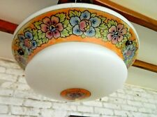 Stunning Vintage Glass Flycatcher Ceiling Shade White with Flower Band, & Chains