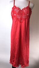 Jc Penney's Body Lites Red Lace Nylon Size 36 Usa Made Slip Nightie Lingerie