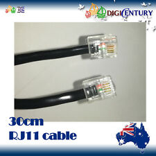 30cm 6p4c Rj11 Rj12 Telephone ADSL Straight Pin Line Cord Cable Black Made in AU