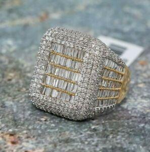 Fine Statement Men's Ring 925 Sterling Silver Sim Diamond High Cocktail Jewelry