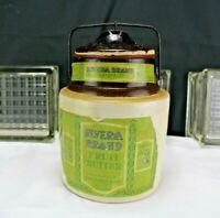 Antique Stoneware Covered Crock/Jar-Advertisement Rivera Brand Fruit Butter Sear
