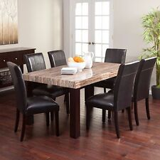 7 Piece Dining Set Kitchen Furniture Table Chairs Dinette Vinyl Marble Seating