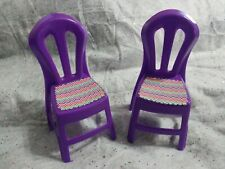 2 Purple Chairs American Plastic Toys Dollhouse Doll Furniture Fits Barbie