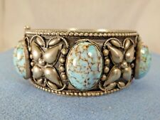 "Silver Plated Turquoise Hinged Bangle Bracelet Composite Stone 6.25"" Wrist"