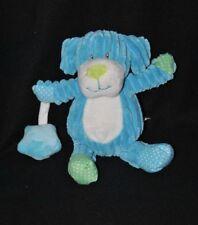 Peluche doudou chien BABY NAT' bleu blanc vert pois étoile grelot 22 cm TTBE