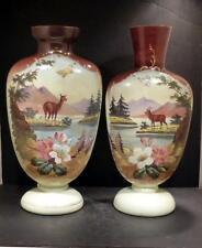 Bristol Glass Enamel Hand Painted Doe and Stag Floral Scene Urn Vases - RARE