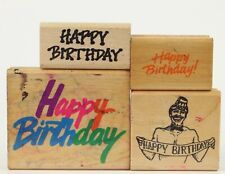 Lot of 4 HAPPY BIRTHDAY Rubber Stamps (Rubber Baby, Hero Art, Posh Impressions)
