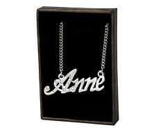 "Name Necklace ""ANNE"" - 18ct White Gold Plated - CZ Crystals - Custom Anniversary"