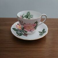 Vintage Adderley Peace Pink Rose Fine Bone China Teacup & Saucer made in England