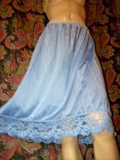 """Vintage Vassarette Blue Plus Size Nylon Lacy A-line Half Slip 2Xl 26"""""""