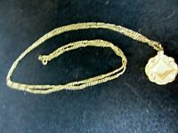 """Vintage 34"""" Gold Tone Chain Necklace & Pendant With Rhinestone"""