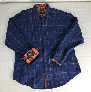 ROBERT GRAHAM Men's Blue Plaid Long Sleeve Button Up Front Shirt Flip Cuff 2XL