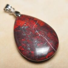 "Extremely Red Natural Bloodstone Jasper 925 18K WG Clasp 1.5"" Pendant #P13734"