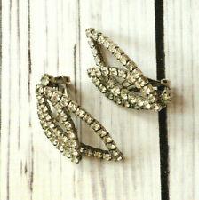quality vintage silver tone rhinestone leaf design clip earrings