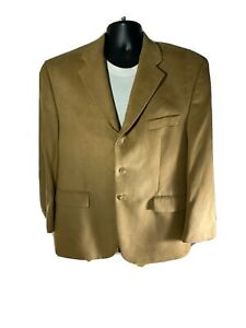 Chaps RALPH LAUREN Men's Tan Sport Coat Faux SUEDE Jacket Microfiber Blazer 44