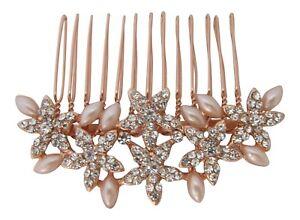 Wedding Hair Accessories Diamante Pearl Multi Star Bridal Hair Comb Rose Gold