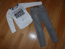 Justice Set/Outfit White 2fer Criss-Cross Back Shirt & Gray Jeggings Size 12 Nwt