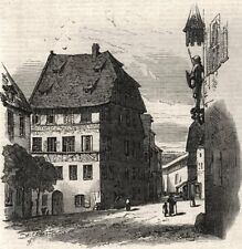 Albert Durer'S HOUSE. Germania, antica stampa, 1864