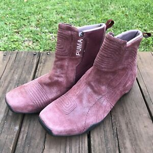 Puma Choke Burgundy Suede Chelsea Boot Side Zip Trainer Womens Shoe Size 8