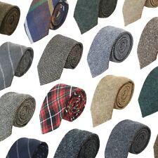 Tie Co Men's 7cm Wide Wool Tweed Twill Tartan Herringbone Houndstooth Check Ties
