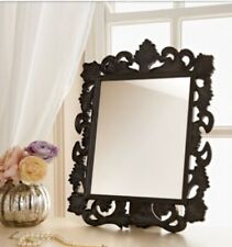 Black Vintage Baroque Style Ornate Mirror Free Standing Dressing Table New